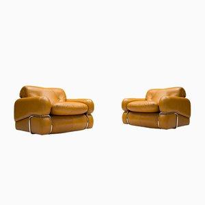 Vintage Cognac Leather Armchairs, Set of 2