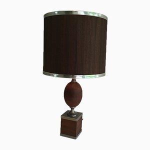 Lámpara de mesa vintage de acero cepillado y madera, años 70