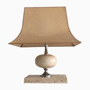 Lámpara de mesa de travertino y metal cromado de Philippe Barbier, años 70