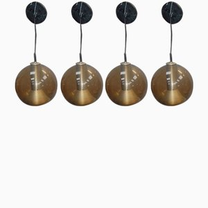 Lampade a sospensione sferiche vintage di Frank Ligtelijn per Raak, set di 4