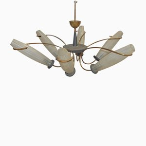 Large Italian 6 Light Ceiling Lamp in Brass and Opaline Glass