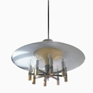 Vintage Chandelier in Brass and Glass, 1950s