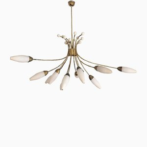 Large Sputnik Brass Ceiling Light from Rupert Nikoll, 1950s