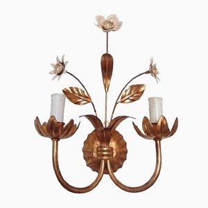 Französische Blumen Wandlampe, 1950er