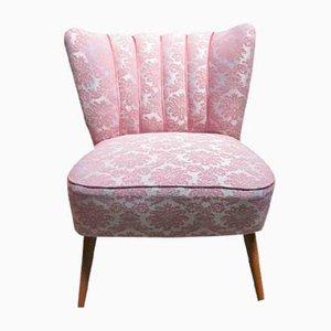 Sedia da cocktail vintage rosa su gambe in legno, anni '50
