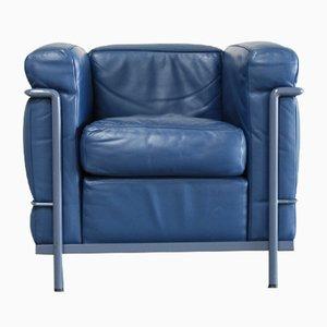 Chaise Vintage Bleue Modèle LC2 en Cuir par Le Corbusier pour Cassina