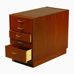 Cajonera de escritorio vintage de teca, años 50