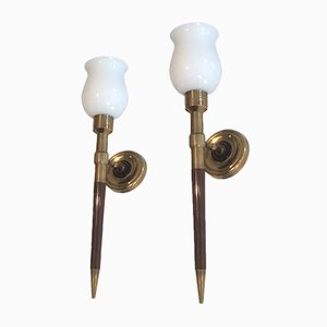 Wall Sconces in Wood, Brass, and Opaline Glass, 1940s, Set of 2