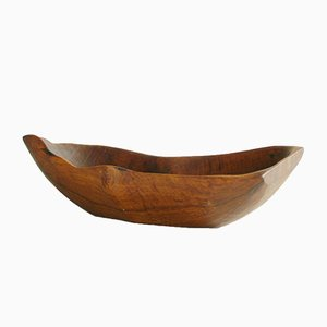 Mid-Century French Freeform Carved Wooden Bowl, 1950s