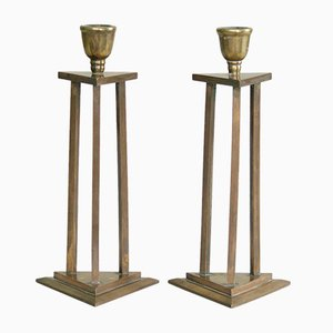 Antique Finnish Kansallisromantika Candle Holders, 1890s, Set of 2