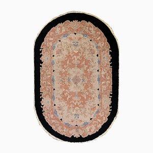 Alfombra china Art Déco vintage ovalada tejida a mano, años 30