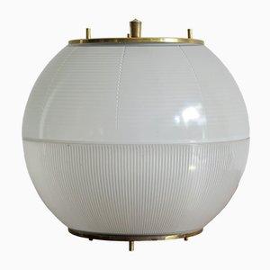 Italienische Mid-Century Glas & Messing Lampe, 1960er
