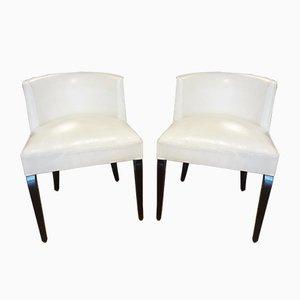 Weiße Vintage Stühle von Jacques Adnet, 1930er, 2er Set