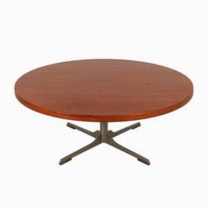 Mid-Century Round Teak Coffee Table, 1960s