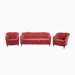 Mid-Century Italian Red Fabric Living Room Set