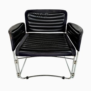 Chrome & Black Leatherette Armchair, 1970s