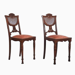 French Art Nouveau Walnut Side Chairs, 1900s, Set of 2