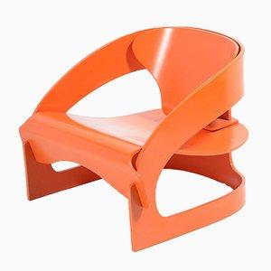Orangenfarbener Armlehnstuhl von Joe Colombo für Kartell, 1964