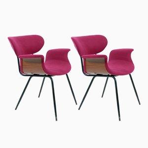 Italienische Gebogene Schichtholz Armlehnstühle, 1958, 2er Set