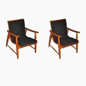 Armchairs with Adjustable Seats by Jacob Müller for Wohnhilfe, 1950, Set of 2