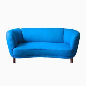 Blaues dänisches gebogenes Sofa, 1940er