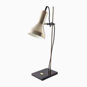 Lámpara industrial de metal cromado negro, años 60