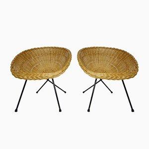 Chaises Basket en Rotin & Métal Noir, 1950s, Set de 2