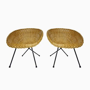 Rattan & Black Metal Basket Chairs, 1950s, Set of 2