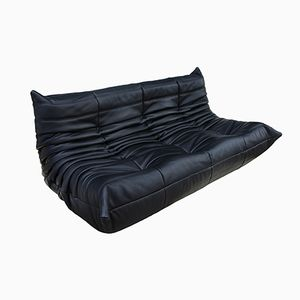 Black Leather 3-Seater Togo Sofa by Michel Ducaroy for Ligne Roset