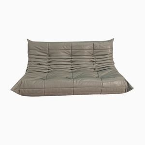 Dark Grey Leather 3-Seater Togo Sofa by Michel Ducaroy for Ligne Roset