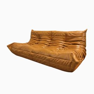 Cognac Leather 3-Seater Togo Sofa by Michel Ducaroy for Ligne Roset
