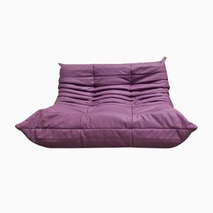 Violett Leather 2-Seater Togo Sofa by Michel Ducaroy for Ligne Roset, 1970s