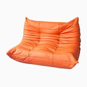 Orange Leather 2-Seater Togo Sofa by Michel Ducaroy for Ligne Roset
