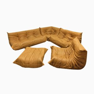 Tobacco Colored Leather Togo Living Room Set by Michel Ducaroy for Ligne Roset