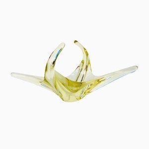 Cuenco italiano Mid-Century de cristal de Murano amarillo, años 60