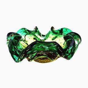 Cuenco italiano Mid-Century de cristal de Murano amarillo y verde, años 60
