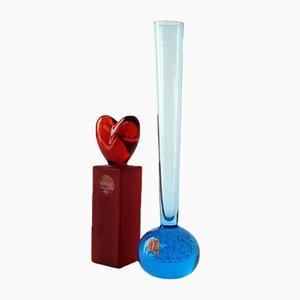Blaue Vintage Vase & Roter Kerzenständer von Alsterfors & Holmegaard