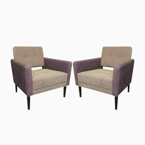 Italian Green & Purple Velvet Armchairs, 1950s, Set of 2
