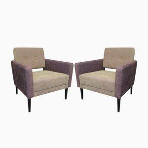 Italian Green & Purple Velvet Armchairs, 1950s, Set of 2