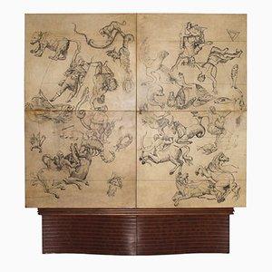 Mueble bar italiano vintage de pergamino de Daghia