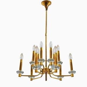 Lampadario vintage a 12 luci in ottone e vetro di Palwa, anni '60