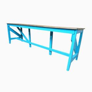 Mesa industrial con base pintada grande, años 10