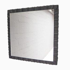 Französischer Viereckiger Wandspiegel mit Rahmen aus Leder, 1960er