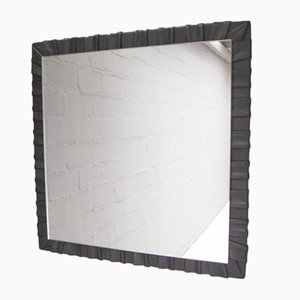 French Square Leather Wall Mirror, 1960s