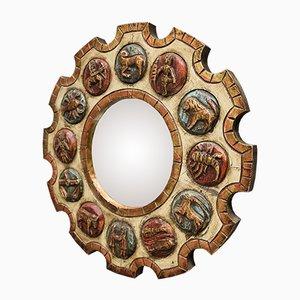 Specchio da parete con segni zodiacali in legno intagliato a mano di Ilse, anni '60