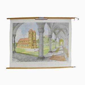 Vintage Romanische Architektur Schulwandkarte von Dr. Schwankl für Georg Westermann Verlag