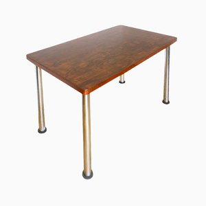 Functionalist Veneered Wooden Table, 1950s