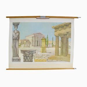 Vintage Griechische Architektur Schulwandkarte von Dr. Schwankl für Georg Westermann Verlag