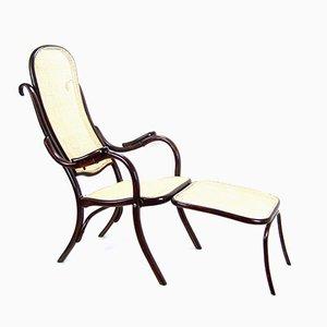 Chaise Pliante No. 1 Antique avec Repose-pieds de Thonet