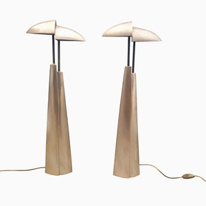 Mid-Century Modern Bronze Table Lamps, Set of 2